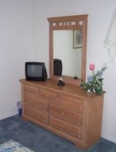 Dressing table with remote control cable tv with built in vcr